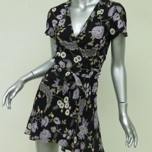 Reformation Wrap Dress Penny Black Floral
